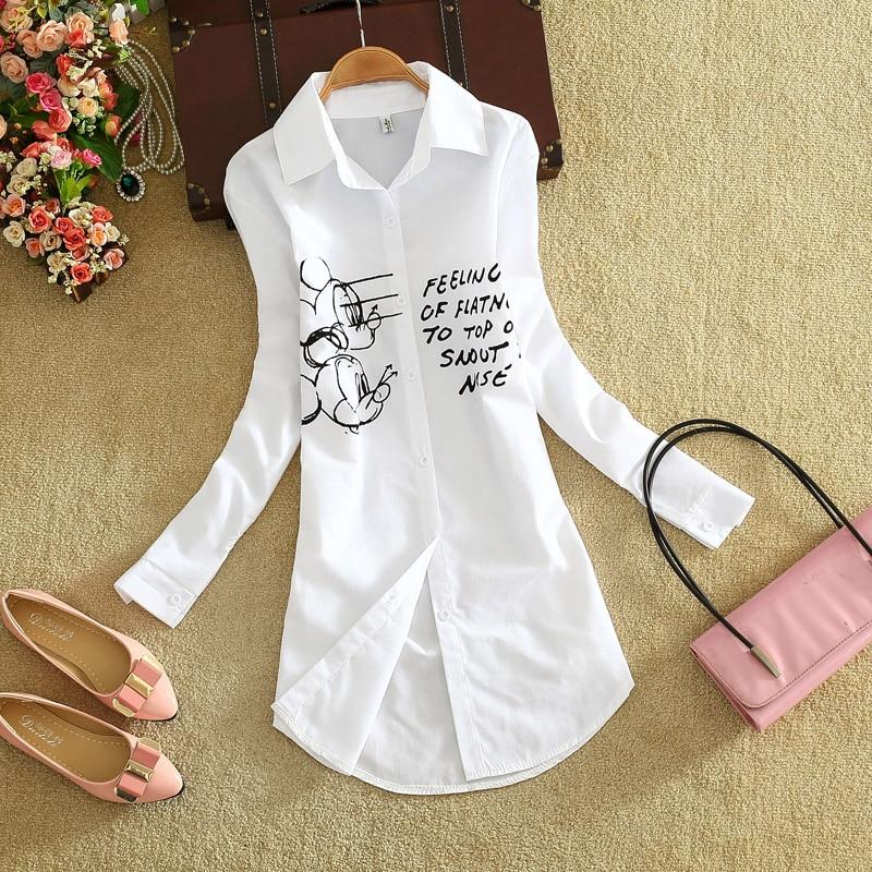 Mujer Camisa Manga Blanca Beige Llegada Impresión Mujeres rosado Suelta De Dibujos Las marfil Blusa Animados Larga Nueva A8TvqxzA