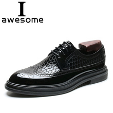 Crocodile pattern Leather Brogue Mens Flats Shoes Casual British Style Men Oxfords Black Flats Fashion Brand Dress Shoes For Men mycolen luxury leather brogue mens lace up handmade flats shoes british style men fashion men shoes brand dress shoes for men
