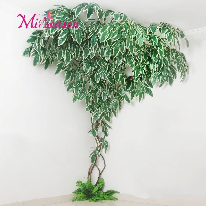 1 Set groene Eucalyptus bladeren landschapsarchitectuur indoor woonkamer muur nep bloem boom rotan vine plant decoratie voor thuis winkel - 2