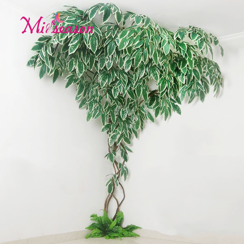 1 conjunto verde eucalipto folhas paisagismo interior sala de estar parede falso flor árvore rattan videira planta decoração para casa loja - 2