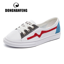 DONGNANFENG Female Ladies Students Gril Women Genuine Leather White Shoes Flats Korean Lace Up Vulcanized 35-39 YGFF-616
