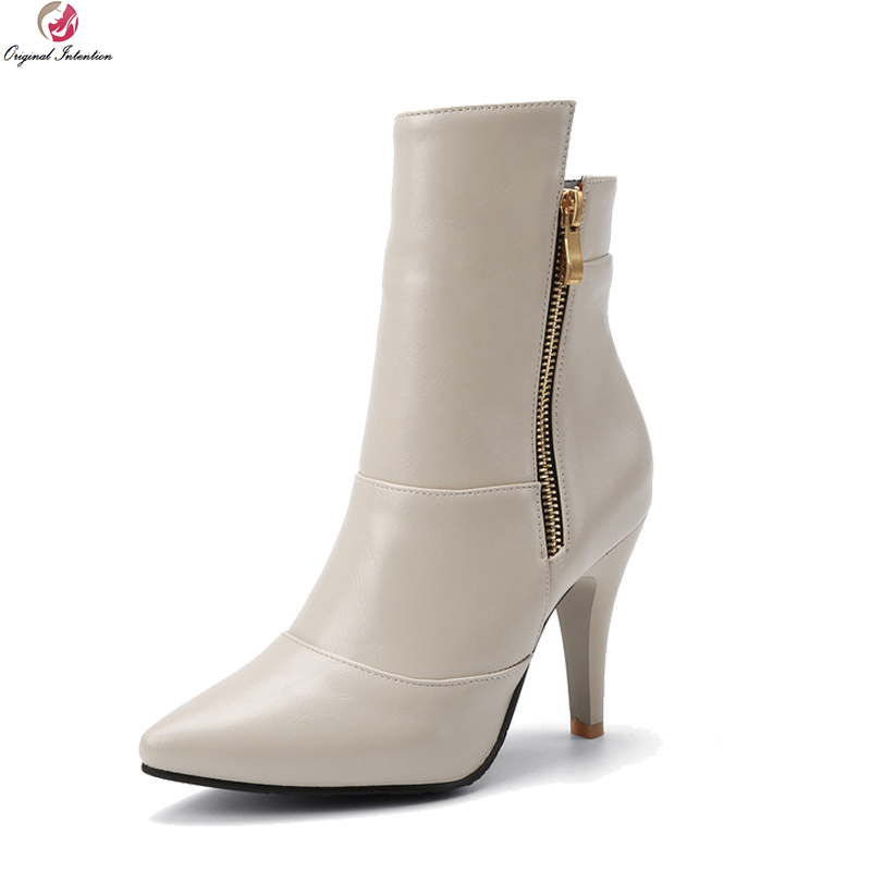 Original Intention Fashion Autumn Winter Boots Women Sexy Pointed Toe High Heel Zipper Shoes Woman Ankle Boots Plus Size 3-16 fashion winter women short boots sexy pointed toe platform high heel shoes big size 32 46 solid pu ladies zipper ankle boots