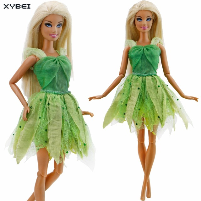 Fashion Green Dress Wedding Party Gown High Quality Princess Mini Skirt Clothes For Barbie Doll Dollhouse