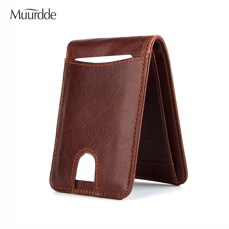 Muurdde Casual Small Wallet For Men Genuine Leather Man Slim Wallets Short Mini Wallet With Card Wallet Handbags