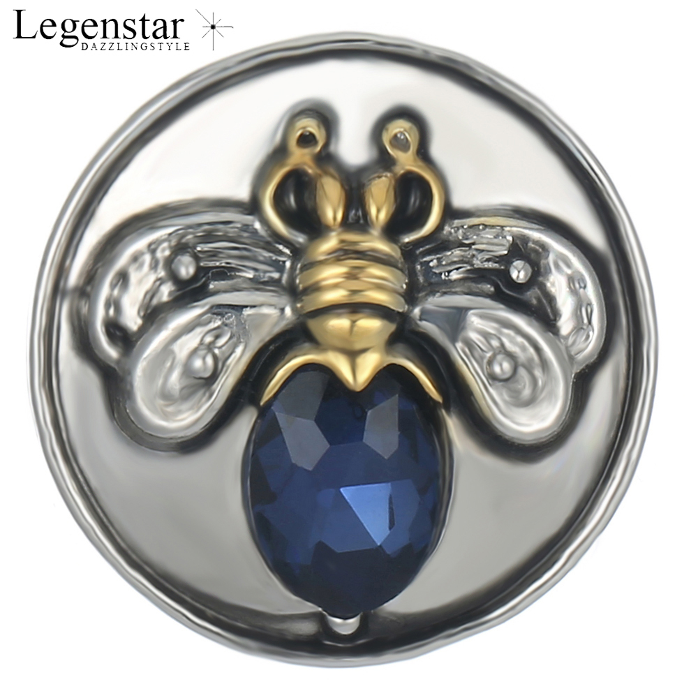 Legenstar 18mm Bees Snaps Buttons Blue Rhinestones High Quality Round Chamr Snaps For Bracelet Women Gift Snap Jewelry ...