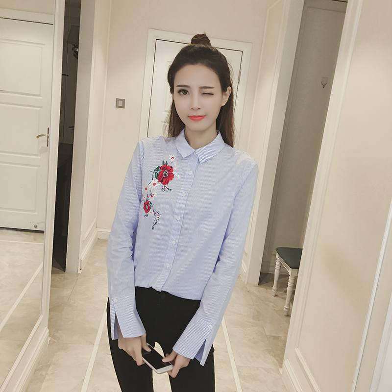 Painstaking 2017 New Arrival Fashion Spring Shirt Blue Stripe Embroidery Flower Long Sleeve Shirt Office Women Clothing Blusas 89e 30 Elegant Appearance Women's Clothing