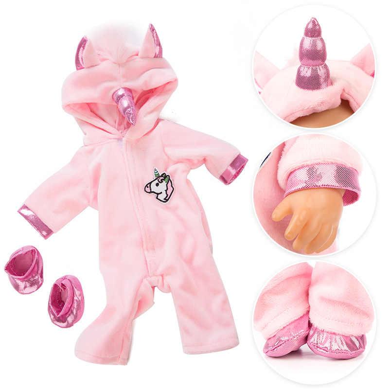 2 шт./компл. Одежда для кукол единорог пижамы + обувь костюм для 43 см новорожденных ребенка жакет для куклы Толстовка Рождественский наряд аксессуары для кукол