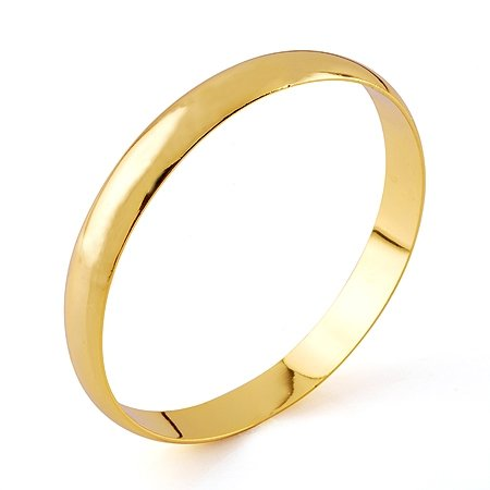 Fashion Jewelry Bangle 10mm 18k Yellow Gold Filled Smooth Bracelet
