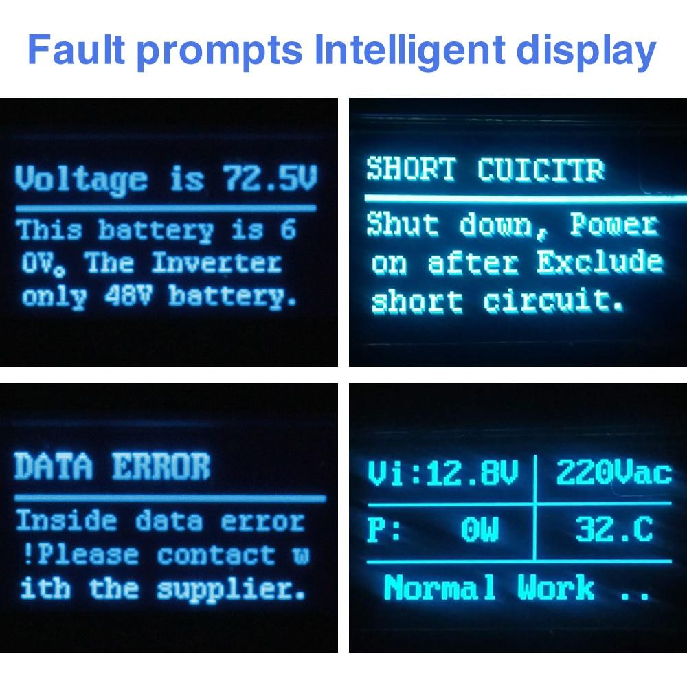 Überlegene volle sustain 500W reine sinus welle solar-wechselrichter 12V 220V 230V mit fehler fordert display und umge draht schutz