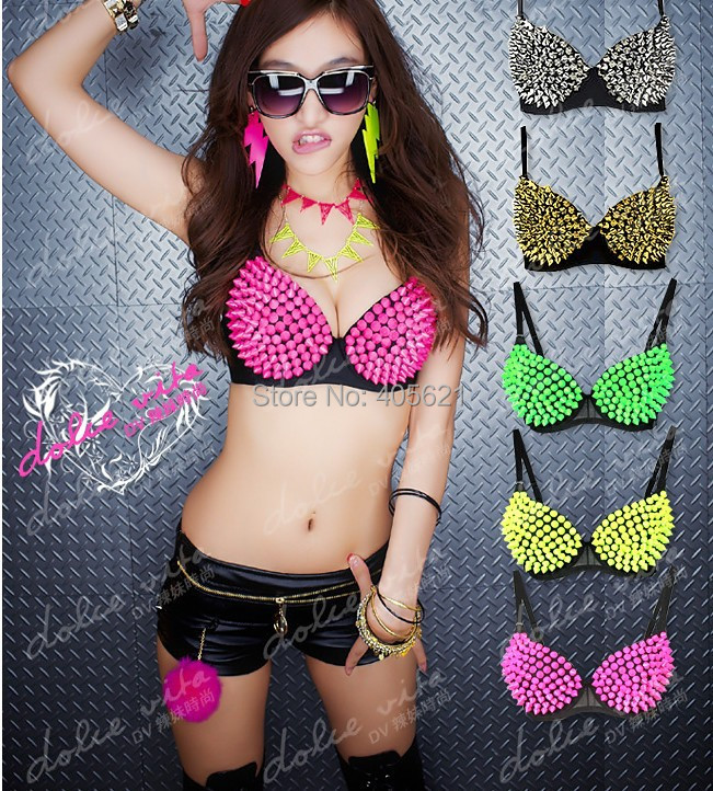 Ladygaga Candy Fluorescent Colors Rivets Acrylic Rhinestones Bra Underwear DJ Sexy Pole Belly Dancing Party Dancer DS Costumes