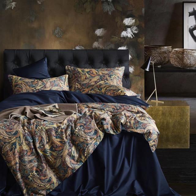 Leaf Floral Birds Duvet Cover Set Shabby Navy Blue Egyptian Cotton Bed sheet 4 Pieces Bedding Set with Hidden Zipper Pillow sham