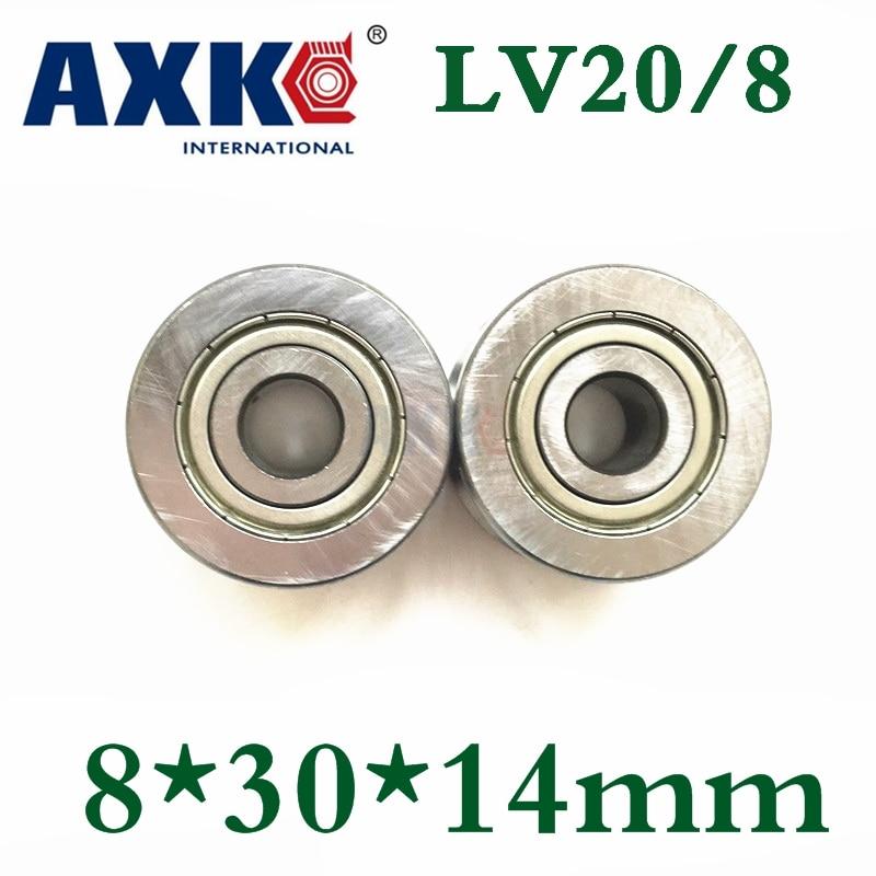 Axk 10pcs High Quality Abec 5 Z2v2 V Groove Guide Roller Bearings Lv20 8 Zz V