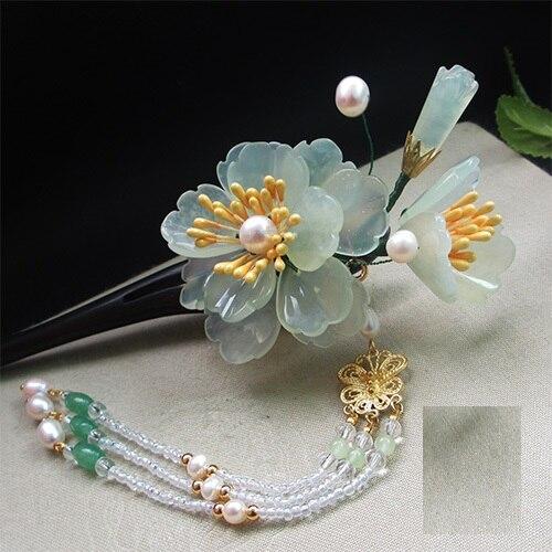ФОТО Black Sanderwood Green Jade Petal Hair Stick Vintage Chinese Hanfu Costume Accessories Long Tassel Hair Stick