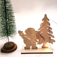 Wooden Christmas Tree Santa Claus Creative Ornaments DIY Home Decoration Crafts Gifts For Children