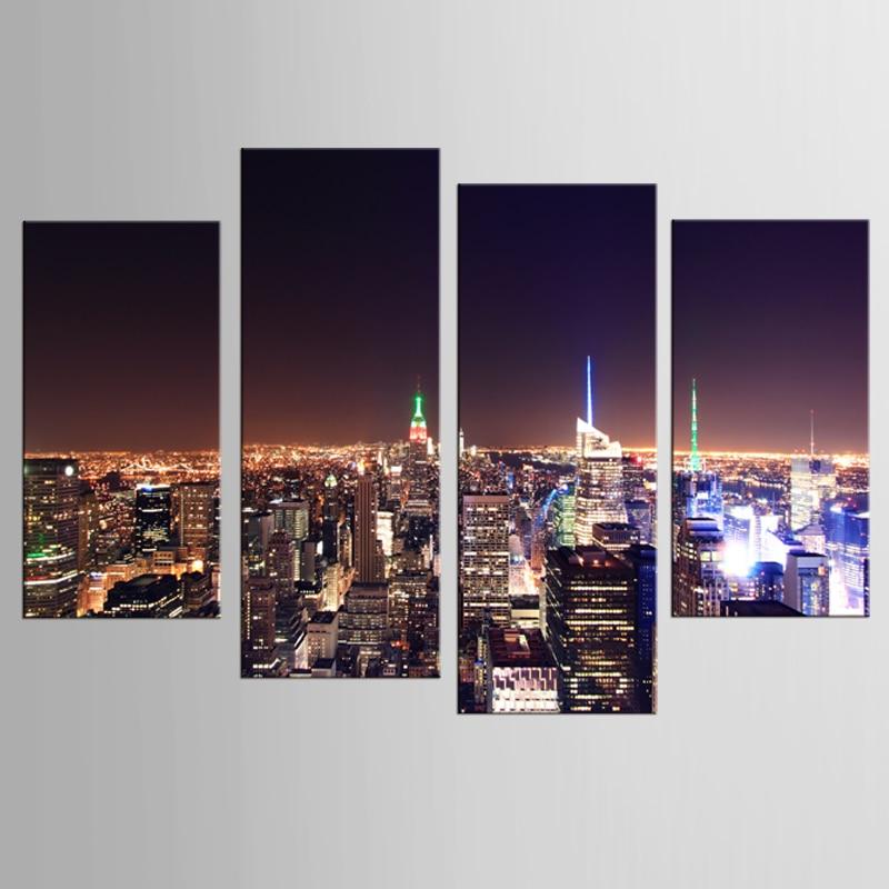 4 panel fali vászon városi éjszakai nyomtatás vászonfestmény - Lakberendezés