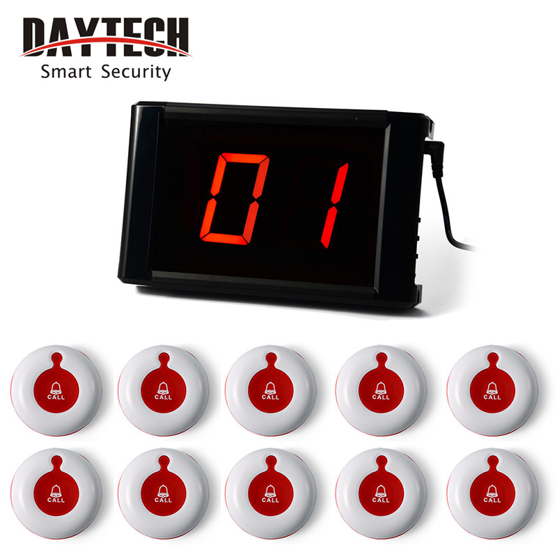 Restaurant Wireless Calling System Guest Pager System Waiter Call Button LCD Panel 433MHZ Table Buzzers one set wireless system waiter caller bell service 1 watch wrist pager with 5pcs table customer button ce passed