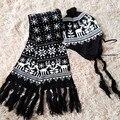 Otoño e invierno amantes de la navidad de los ciervos de punto beanie sombrero de punto nieve bufanda dos piezas conjunto casquillo caliente para las mujeres niñas niños
