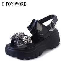 E TOY WORD Women Sandals 2019 Fashion Crystal summer shoes Black Platform Sandals Ladies Wedge shoes Female High Heels Sandals fanyuan new ladies shoes women sandals summer open toe sweet flower fashion platform high heels wedge sandals female shoes