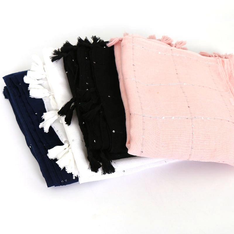 Fashion Solid Color Tassel Hijab Scarf Glitter Scarves Cotton Scarf Plaid Muslim Hijab Headband Wraps Shawls/scarf 10pcs/lot