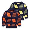 Hot! alta Qualidade New Geométrica Outono Inverno Do Bebê Meninos Das Crianças Dos Miúdos das Camisolas Cardigans Pullover Top Roupas Outerwear P85