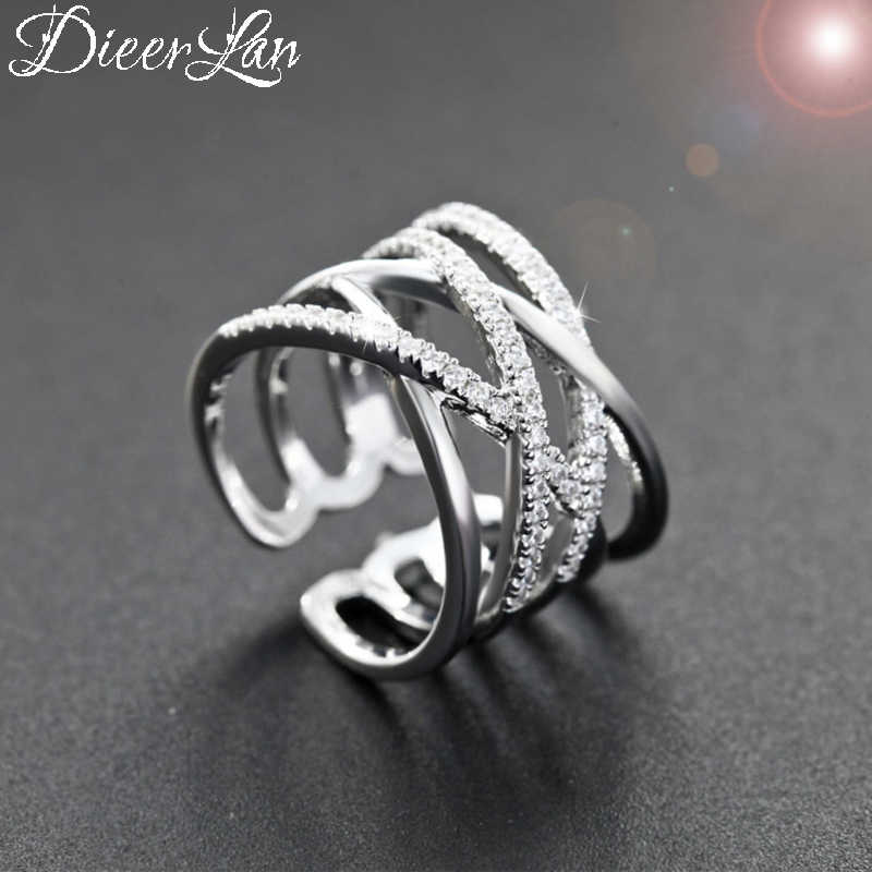 DIEERLAN New S925 Sterling Silver Crystal Cross Rings for Women Fashion Adjustable Size Layer Ring Gifts Party Jewelry Anillos
