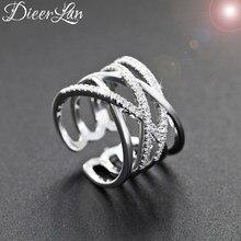 Dieerlan nova s925 prata esterlina cristal cruz anéis para as mulheres moda tamanho ajustável camada anel presentes festa jóias anillos