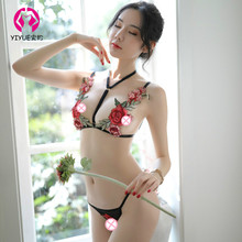 Womens Sexy Lingerie Embroidered Hollow Bra Three-point Suit Underwear Set