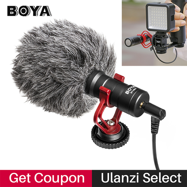 BOYA BY MM1 Condenser Video Recording Microphone on Camera Vlogging for iPhone Samsung Canon DSLR Zhiyun Smooth 4 Stabilizer