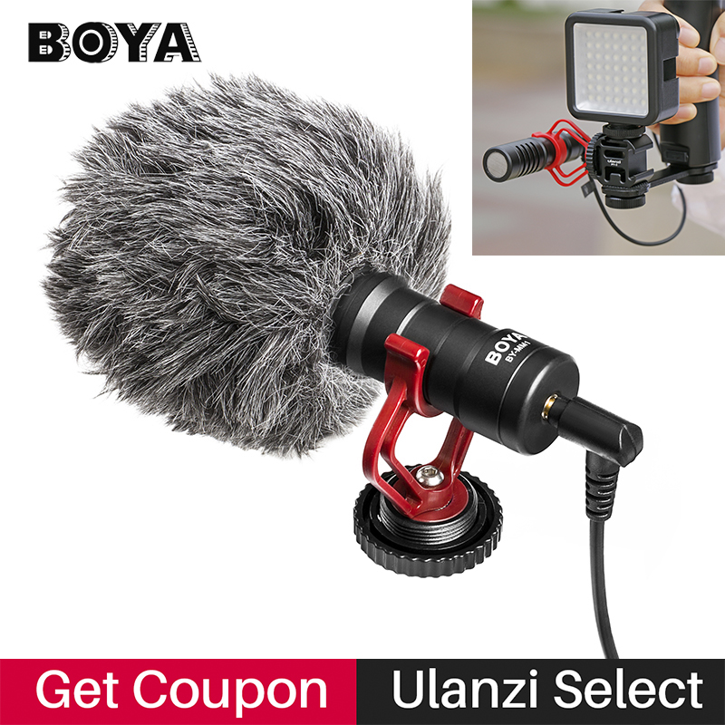 BOYA BY-MM1 VideoMicro Condenser Microphone on-camera Vlogging Recording Microfone for iPhone Nikon Canon DSLR Camera Gimbal u grip video action stabilizing handle grip rig set with by mm1 videomicro phone led on camera light for iphone canon nikon