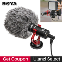 BOYA BY MM1 VideoMicro Condenser Microphone on camera Vlogging Recording Microfone for iPhone Canon DSLR Ronin S Stabilizer
