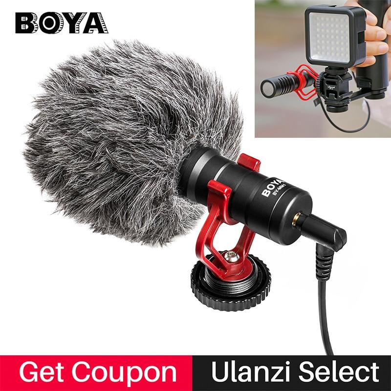 Boya BY-MM1 condensador microfone de gravação de vídeo na câmera vlogging para iphone samsung canon dslr zhiyun estabilizador liso 4