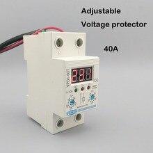 40A 220 فولت قابل للتعديل التلقائي إعادة الاتصال أكثر من الجهد وتحت الجهد حماية جهاز التتابع مع الفولتميتر الجهد رصد