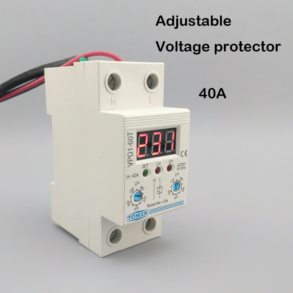 купить 40A 220V adjustable automatic reconnect over voltage and under voltage protection device relay with Voltmeter voltage monitor по цене 878.11 рублей