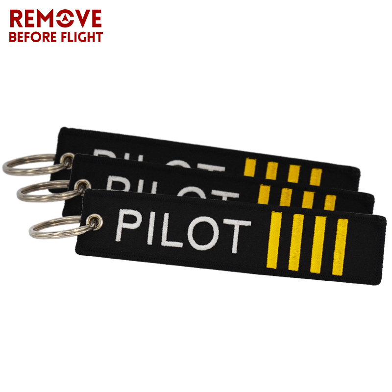 10 PCS Remove Before Flight Pilot Key Ring Black Embroidery OEM Luggage Key Tag Keychain for Aviation Gifts Jewelry Wholesale
