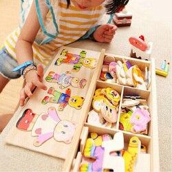 قليلا الدب تغيير الملابس الأطفال التعليم المبكر خشبية بازل قطع خلع الملابس لعبة طفل خشبية لغز لعب شحن مجاني