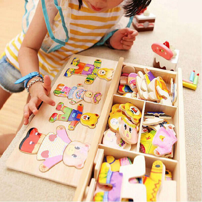 little bear change clothes Children's early education Wooden jigsaw Puzzle Dressing game Baby Wooden Puzzle toys free shipping(China)