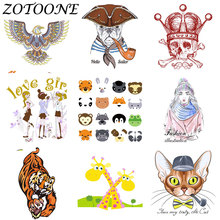 ZOTOONE DIY Custom Punk Skull Patch Thermo Stickers Tiger Iron on Transfer Patches for Clothing Applique Tactical Military E
