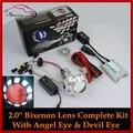 Motocicleta Faros HID Bi-xenon Lente Proyectores Con Halo Ángel Demon Devil Eyes Faros de Xenón de Luz Retrofit Kit Completo