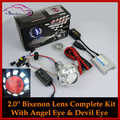 Motorcycle Headlight HID Bi-xenon Lens Projectors With Angel Halo Demon Devil Eyes Xenon Headlamp Light Retrofit Full Kit