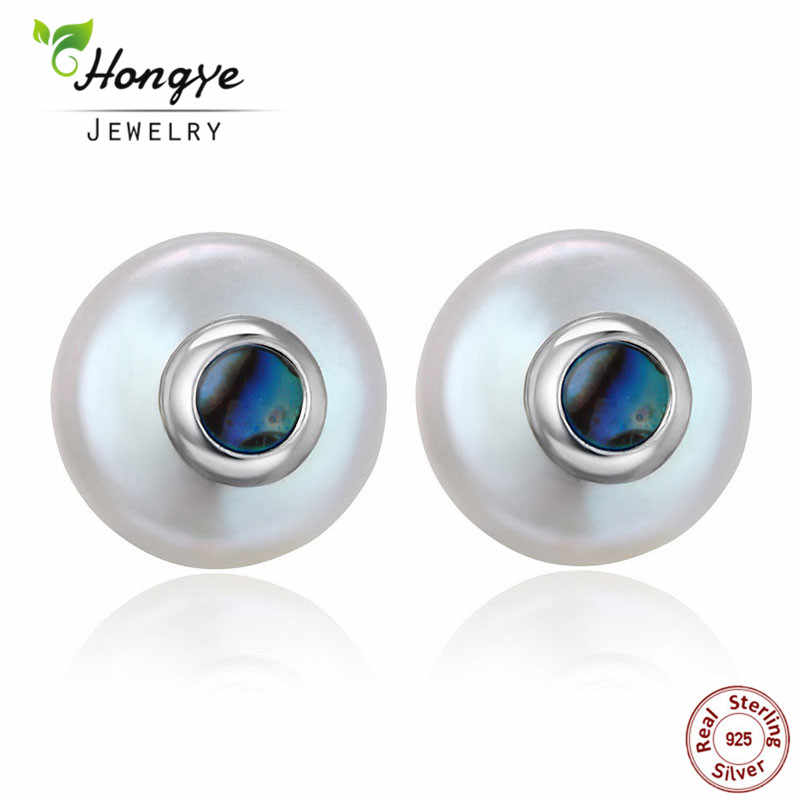 Hongye Hot Sale Natural Freshwater Pearl Earrings for Women 100% 925 Sterling Silver Stud Earrings Baroque sapphire Jewelry