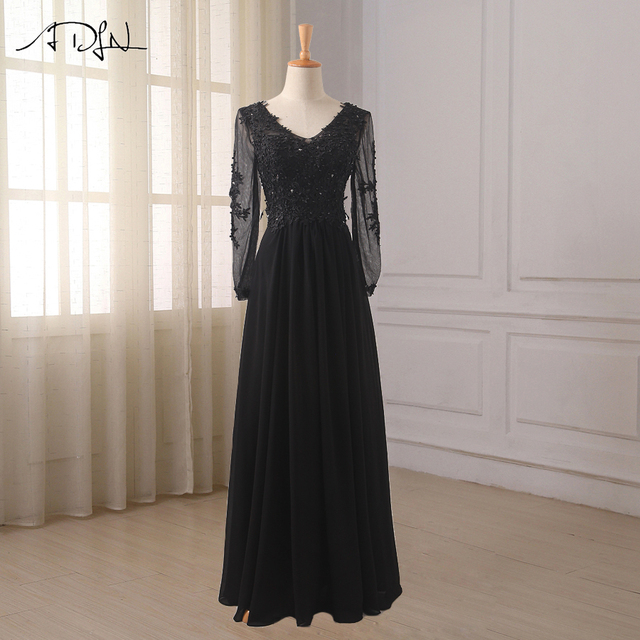 ADLN Black Long Sleeves Prom Dresses V-neck Beaded Applique Chiffon Formal  Party Gowns Floor Length Custom Robes De Soiree 10bf7ec0d116