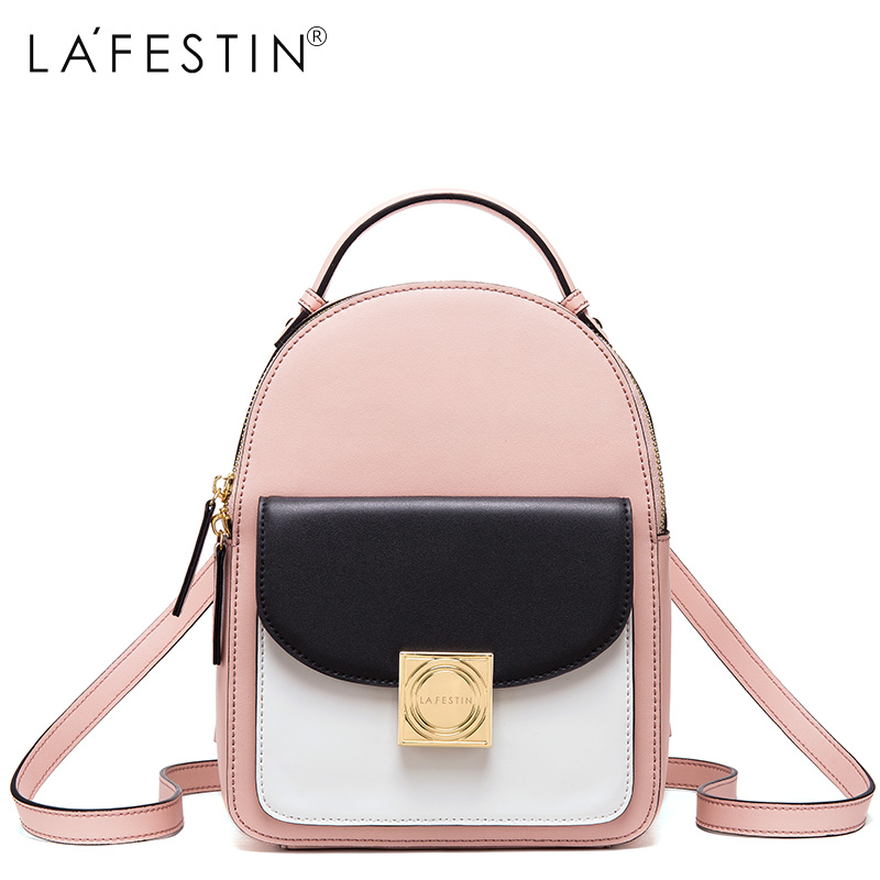 LAFESTIN Leather Backpack Panelled Women Canvas Zipper Style Backpack Girls School Bags Genuine Leather Back Backpack Mochilas zipit рюкзак zipper backpack