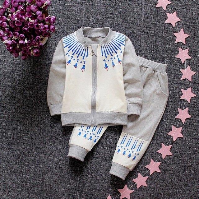 2016 новых осенью и зимой ребенок мальчик спортивный костюм одежда спортивная брюки детский костюм младенца мальчик молния куртка + брюки