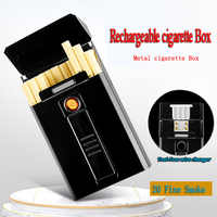The latest Metal windproof lighter USB charging Electronic lighter Charging cigarette box Can hold 16pcs slender cigarettes