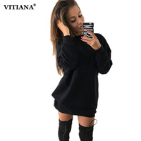 VITIANA Women Casual Hoodies Dress Female Autumn Black Long Sleeve Loose Hoodies Sweatshirts Pullover Short Dresses