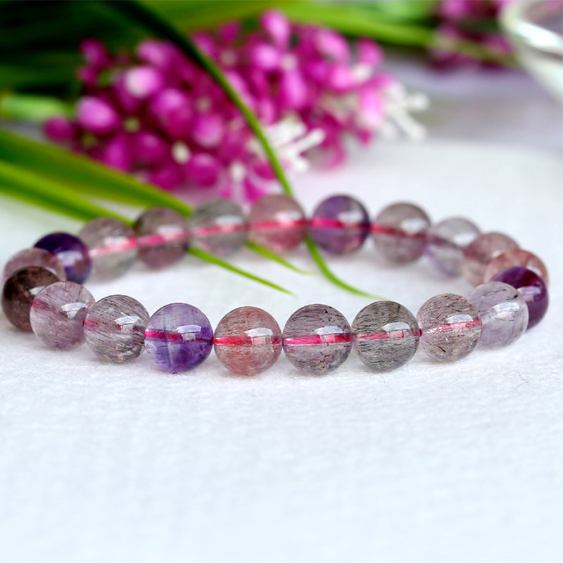 Wholesale Natural Genuine Multi Colors Mix Super Seven 7 Finish Stretch Bracelet Round Beads Melody Stone 9mm