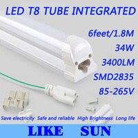 Бесплатная Доставка 100 шт./лот integrated t8 6 футов 1800 мм 34 Вт SMD2835 3400lm 85-265 В белый/теплый белый/холодный белый свет пробки
