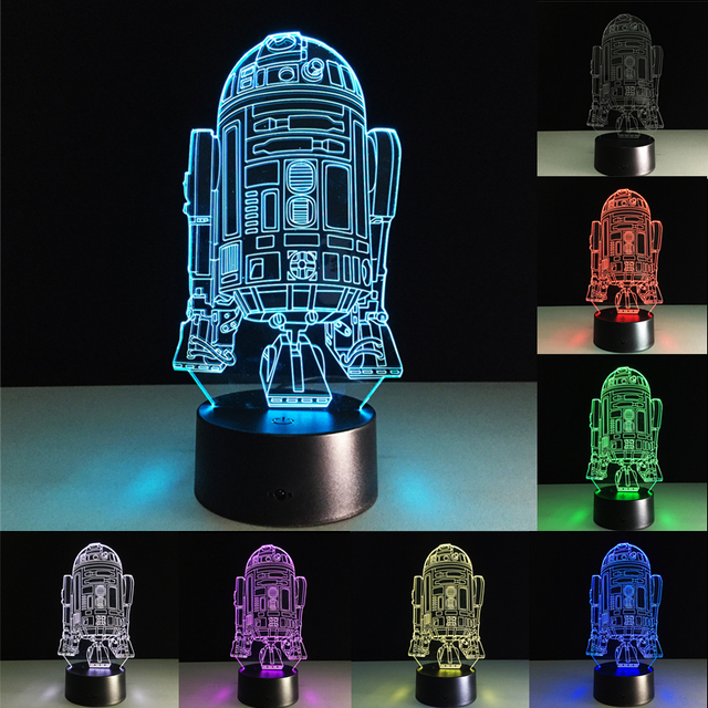 3D Night Lights Space Warships Robot Visual LED Table Lamp 7 Colors  Changing Lights Decoration Desk