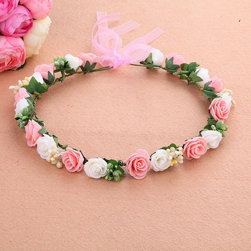 Wreath Flower Crown Women Girl Kids Head Wreath Wedding Bridal Hair Accessories Foam Rose Floral for Mori Girl Series women girl bohemia bridal camellias hairband combs barrette wedding decoration hair accessories beach headwear