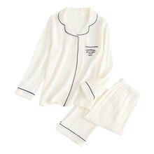 Nieuwe Delicate Eenvoudige 100% Crêpe Katoen Nachtkleding Vrouwen Pyjama Sets Lange Mouw Pure Kleur Japanse Casual Homewear Vrouwen Pyjama
